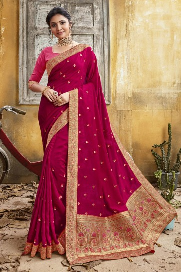 Stunning Pink Chanderi Silk Fabric Designer Embroidery And Border Work Saree And Blouse