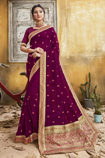 Chanderi Silk Fabric Magenta Embroidery And Border Work Designer Saree And Blouse
