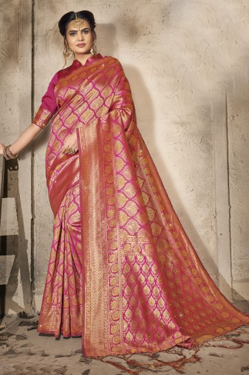 Silk Fabric Stone Work Designer Pink Lovely Saree And Blouse