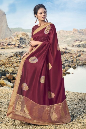 Silk Fabric Border Work Designer Maroon Lovely Saree And Blouse