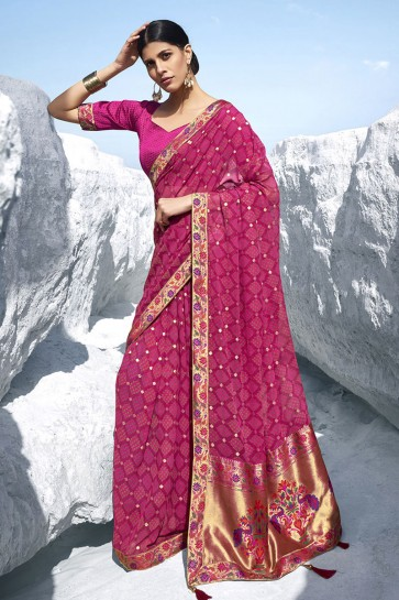 Jacquard Work And Printed Pink Georgette Fabric Saree And Blouse