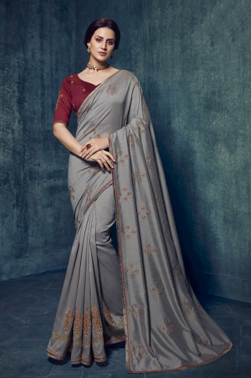 Stunning Silver Silk Fabric Embroidered Saree And Blouse