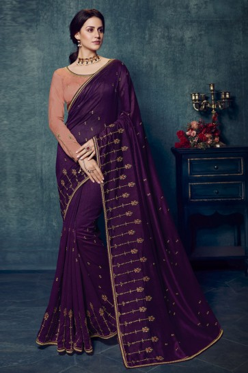 Silk Fabric Embroidered Purple Lovely Saree And Blouse