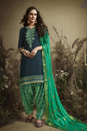Teal Sea Green Cotton Embroidered And Zari Work Patiala Suit With Nazmin Dupatta