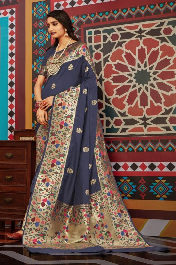 Grey Silk Weaving Work And Jacquard Work Designer Saree And Blouse
