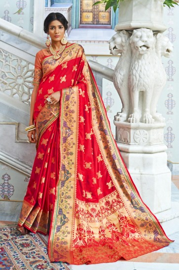 Red Silk Fabric Weaving Work And Jacquard Work Saree And Blouse