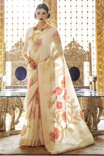 Cream Karyon Linen Fabric Printed Designer Saree With Blouse