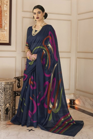 Stunning Navy Blue Karyon Linen Fabric Printed Saree With Blouse