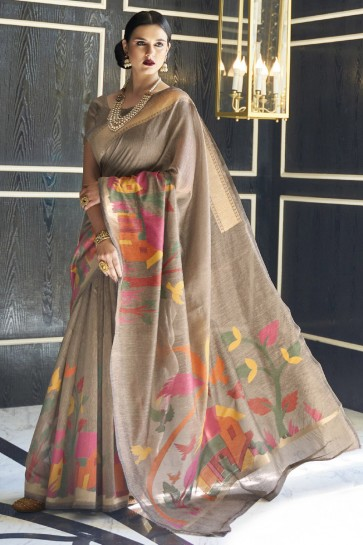 Karyon Linen Fabric Printed Designer Coffee Lovely Saree With Blouse