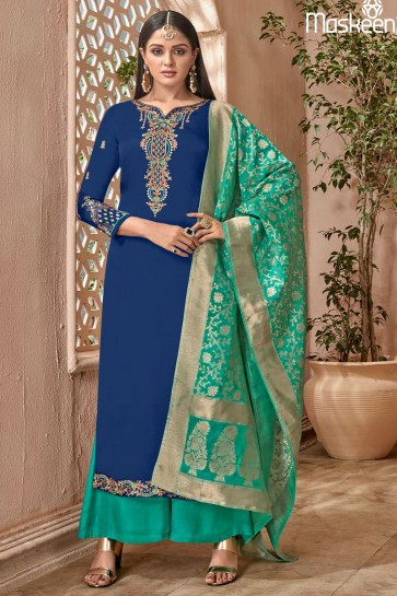 Gorgeous Blue Georgette Embroidered Designer Plazo Salwar Suit