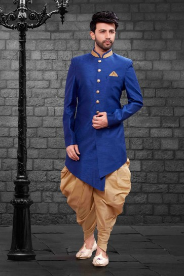 Graceful Blue Silk Indo Western With Dhupion Silk Bottom