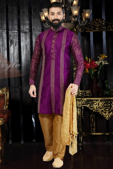 Dhupion Fabric Purple Embroidered And Hand Work Indo Western With Dhupion Bottom
