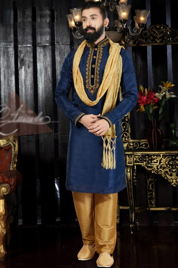 Embroidery And Hand Work Navy Blue Dhupion Fabric Indo Western