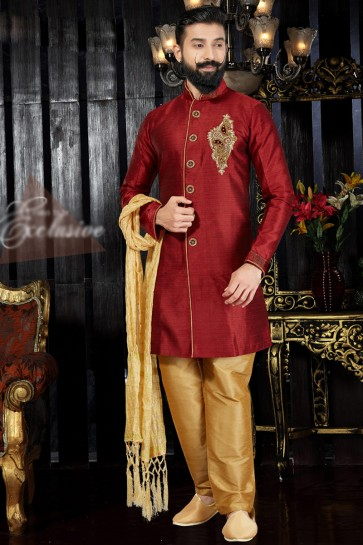 Graceful Hand Work And Embroidered Maroon Silk Indo Western With Dhupion Bottom