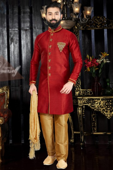 Delicate Hand Work Red Silk Indo Western With Dhupion Bottom