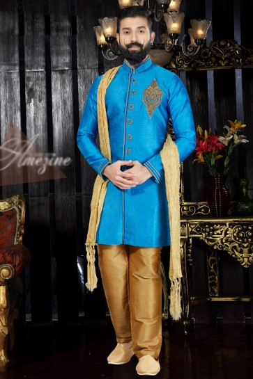 Lovely Sky Blue Silk Fabric Hand Work And Embroidered Indo Western With Dhupion Bottom