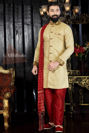 Marvelous Silk Fabric Gold Embroidered And Hand Work Indo Western