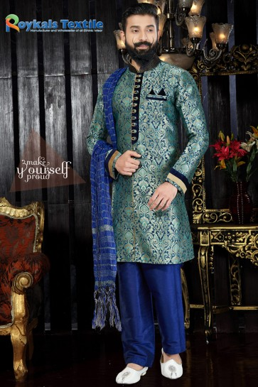 Desirable Turquoise Embroidery And Hand Work Jacquard Fabric Indo Western With Dhupion Bottom