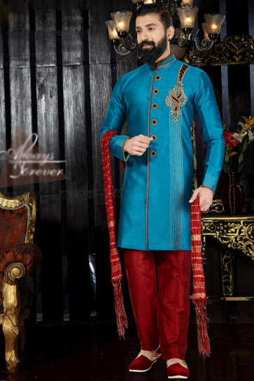 Hand Work And Embroidered Sky Blue Silk Fabric Indo Western With Dhupion Bottom