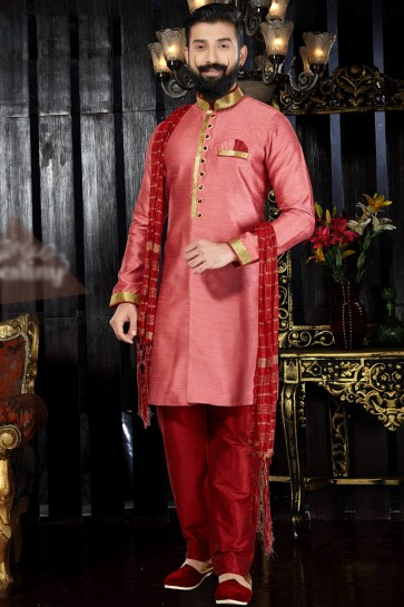 Peach Silk Fabric Hand Work And Embroidered Indo Western With Dhupion Bottom