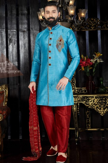 Supreme Dhupion Fabric Sky Blue Embroidery And Hand Work Indo Western