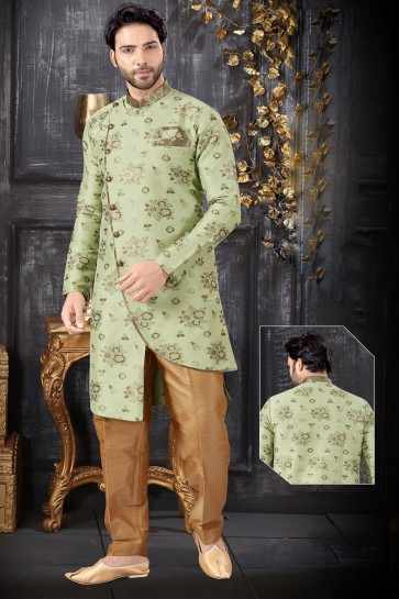 Pista Jacquard Fabric Indo Western With Golden And Art Silk Bottom