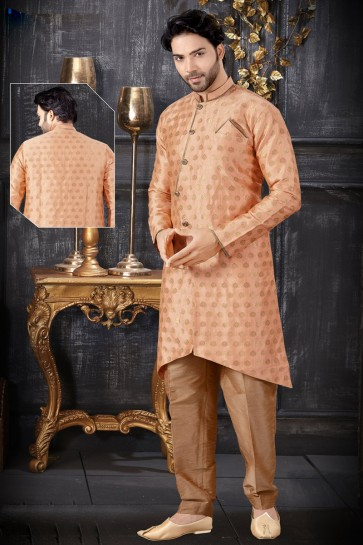 Jacquard Fabric Peach Stylish Indo Western With Art Silk Bottom