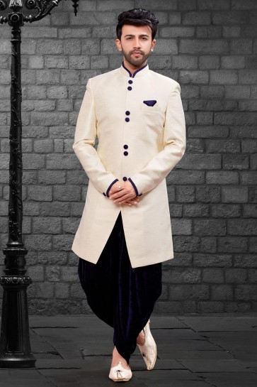 Awesome Cream Imported Silk Fabric Indo Western With Velvet Bottom