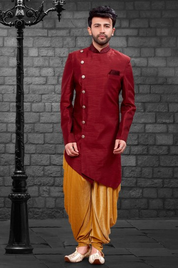 Marvelous Maroon Imported Silk Fabric Indo Western With Velvet Bottom
