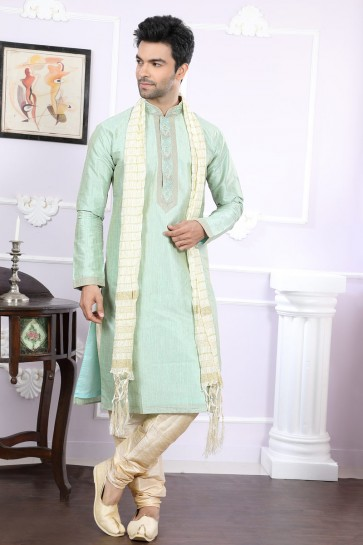 Styilsh Light Green Art Silk Designer Kurta Pajama