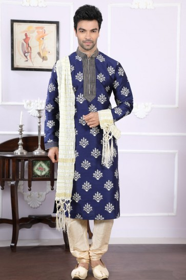 Optimum Navy Blue Art Silk Designer Kurta Pajama