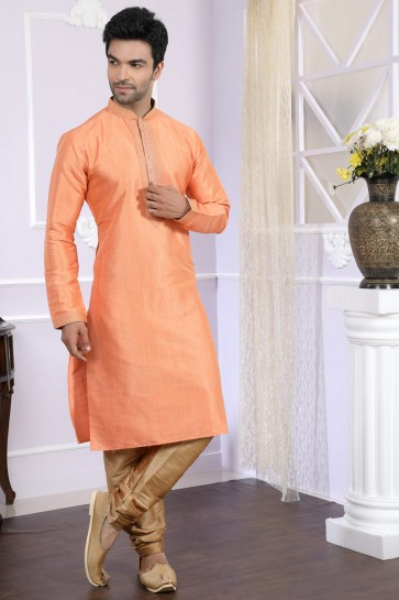 Ultimate Orange Art Silk Designer Kurta Pajama