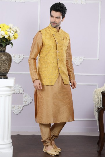 Graceful Golden And Yellow Art Silk Kurta Pajama