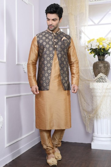 Classic Golden And Black Art Silk Designer Kurta Pajama