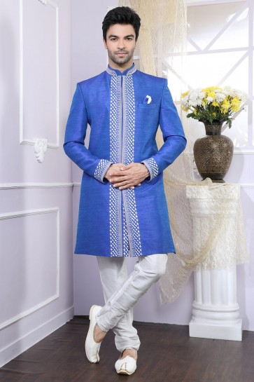Blue Thread Work Designer Silk Fabric Indo Western