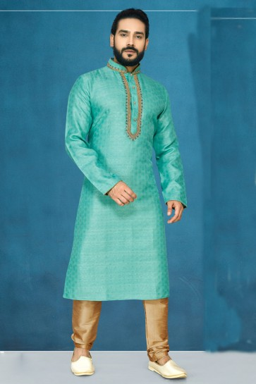 Sea Green Jacquard And Silk Fabric Indo Western With Dhupion Bottom