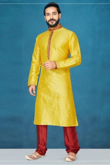 Ultimate Silk Yellow Indo Western With Dhupion Bottom