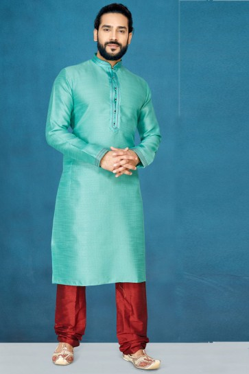Excellent Sea Green Jacquard And Silk Fabric Indo Western With Dhupion Bottom