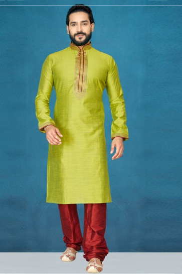 Lovely Olive Silk Fabric Indo Western With Dhupion Bottom