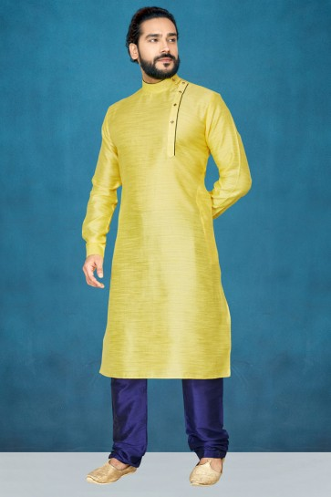 Jacquard And Silk Fabric Yellow Indo Western With Dhupion Bottom