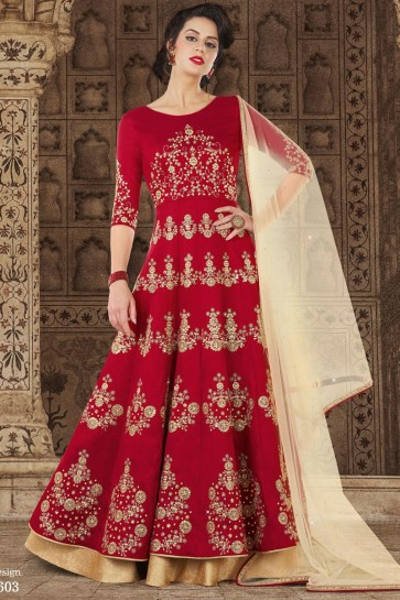 Gorgeous Red Silk Casual Embroidery Worked Salwar Suit