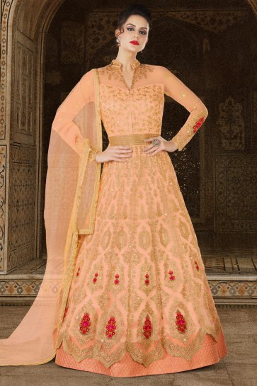 Lovely Cream Net Embroidery Worked Salwar Kameez