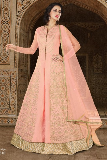 Classic Pink Long Length Casual Wear Salwars Suit