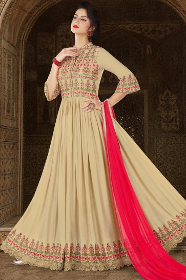 Excellent Beige Stin Embroidery Worked Salwar Suit