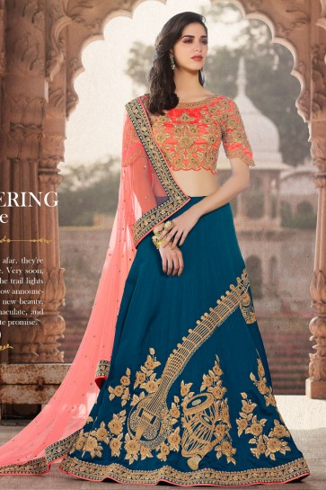 Ultimate Blue Crepe Lehenga Choli with Soft Net Dupatta