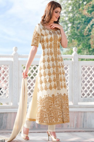 Classic Off White Cotton Salwars Kameez