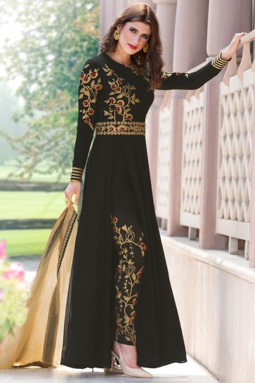 Excellent Black Party Wear Embroidery Worked Salwar Kameez