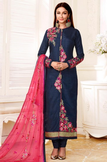 Classic Navy Blue Bhagalpuri Silk Embroidery Worked Salwar Suit