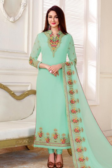 Beautiful Sky Blue Georgette Embroidery Worked Salwar Kameez