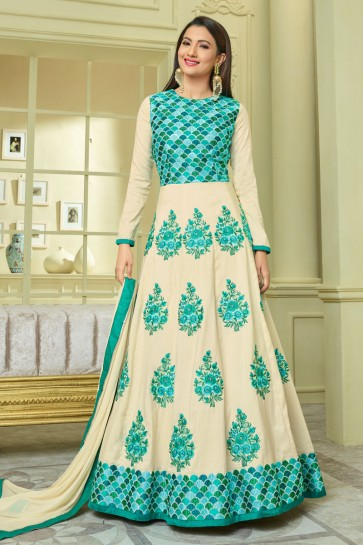 Gauhar Khan Classic Green and Off White Embroidered Work Anarkali Salwars